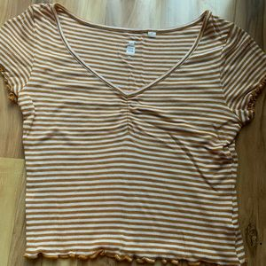 PacSun yellow and white striped shirt